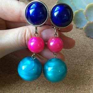CLIP-ON 80's 90's Lucite Marble Earrings